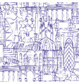 background of drawings of famous buildings and vector image vector image
