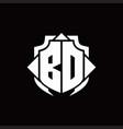 bd logo monogram with shield line and 3 arrows vector image vector image