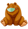 bear cartoon character wearing mask vector image vector image