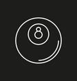 billiard icon on black background vector image vector image