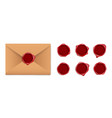 brown letter envelope with wax seal and dark red vector image vector image