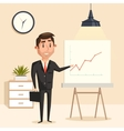 Businessman with rising graph at seminar vector image vector image