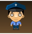 Cartoon Police Officer on Dark Background vector image vector image