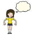 cartoon woman looking sideways with thought bubble vector image vector image