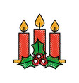 christmas three candle holly berry leaves burning vector image vector image