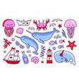 collection of sea stickers patches badges pins vector image