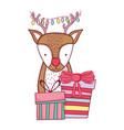 cute christmas reindeer with gifts vector image vector image