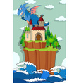 Dragon and castle on the island vector image vector image