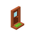 entrance wooden door with window and golden handle vector image vector image
