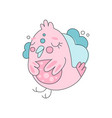 flat line art with cute pink bird against blue vector image vector image