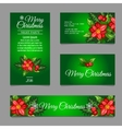 Four green postcard with holly berry vector image