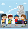 four kids at the merlion in singapore vector image