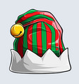 funny red and green stripped elf hat isolated vector image