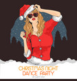 girl dj music christmas santa claus vector image
