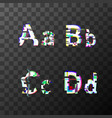 glitch distortion font latin a b c d letters vector image
