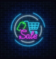 glowing neon sale sign with supermarket shopping vector image