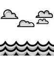 grayscale clouds in the sky with natural ocean vector image vector image
