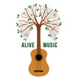 guitar tree live music quote concept vector image vector image