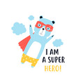 hand drawing print design hero bear vector image