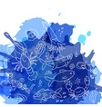 hand drawn seafood pattern with blue watercolor vector image vector image