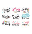 hello spring time lettering text greeting vector image