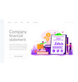 income statement landing page template vector image vector image