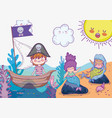 mermaid women with pirate boy in the ship vector image vector image