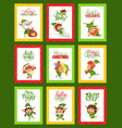 merry christmas jingle bells collection cards vector image vector image