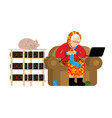 mining in russian grandmother and mining farm vector image vector image