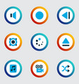 multimedia icons colored set with eject shuffle vector image vector image