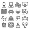 office icons set on white background line style vector image