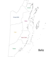 Outline Belize map vector image vector image