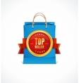 paper bag and gold label Top Seller vector image vector image