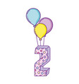 party balloons helium with candle number two vector image vector image