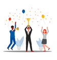people holding cup trophy and celebrating success vector image