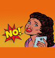 phone selfie the woman is scared african american vector image vector image