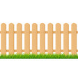 realistic detailed 3d brown wood fence with green vector image vector image