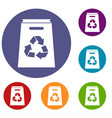 recycle shopping bag icons set vector image vector image