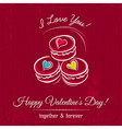 red valentine card with macaroni and wishes text vector image vector image