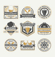 restaurant vintage isolated label set vector image vector image