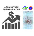 sales bar chart trend icon with agriculture set vector image vector image