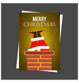 santa enters thriugh chimney design vector image