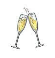 sketch two sparkling glasses champagne vector image vector image