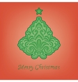 stylized fir on a red background vector image vector image