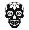sugar skull flowers on the skull icon simple vector image vector image