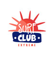 surf club logo extreme retro badge for surf vector image