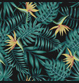 Tropical leaves blue tone bird paradise black