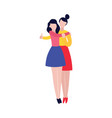 two young women hugging female friendship vector image