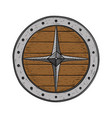 viking round shield colored hand drawn sketch vector image