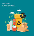 waste cardboard sorting flat style design vector image